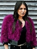 Boysenberry Marabou Jacket with Pleather Trim