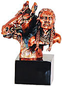 Bronzed Brave with Horse Bust Sculpture