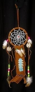 "3 1/2"" Brown Dream catcher breastplate ornament"