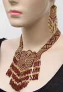 Brown and Gold Geometric Seed Beaded Choker Necklace & Earrings