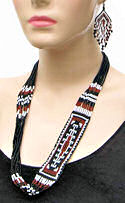 Black and Brown Yei Beaded Necklace & Earrings Set