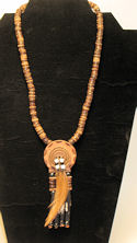 Buffalo Horn Prayer Medallion Necklace