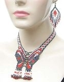 Red and white beaded butterfly necklace and earring set