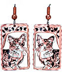 Cat Diamond Cut Dangle Earrings