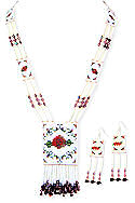 Red Cherokee Rose Beaded Necklace & Earrings Set