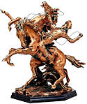 Bronzed Cowboy with Two Horses Sculpture