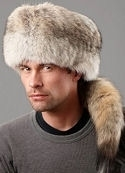 Coyote Fur Hat with Tail