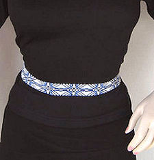 Blue and White Cross pattern beaded belt