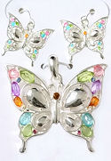 Crystal Butterfly Pendant & Matching Earrings