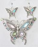 Crystal Butterfly Pendant/Brooch & Earrings Set