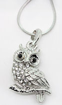 CZ White Crystal Owl Necklace