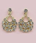 Gold teardrop CZ earrings.