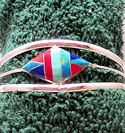 Diamond Inlaid Stone Southwest Inspired Cuff Bracelet