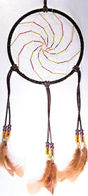 "Beaded Dark Brown 6"" Spiral Dream Catcher"