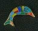 Dolphin stone inlay Brooch/pin #006