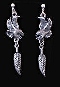 Diamond Cut Flying Eagle Feather Earrings
