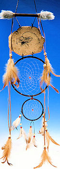 Etched Eagle Brown Double Dream Catcher