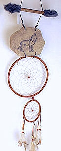 Etched Wolf Rust Brown Double Dream Catcher