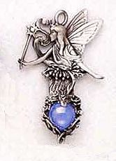 Fairy with colored marble pewter pendant