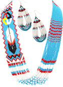 Turquoise Feather & Medicine Wheel Beaded Lariat Necklace and Matching Earrings Set