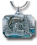 Trout FISHING scene pewter keychain