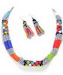 Multi-color Floral Seed Beaded Rope Necklace & Earrings Set