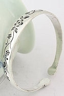 Etched Flowers Silver Cuff Bracelet