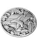 Flying Eagle with Feathers Belt Buckle