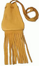 "3""x3.75"" Medium Fringed Gold Buckskin Medicine Bag /w Neck String 2"