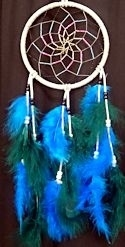 "Grey, Turquoise and Hunter Green 6"" Spiral Dream Catcher"