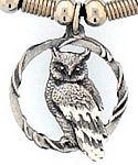 Diamond Cut Great Horned Owl Pendant