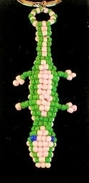 Pink and green Gecko beaded keychain