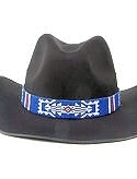 Dark Blue & White  Hand Beaded Hat Band or Belt