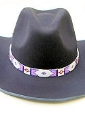 Pink, Dark Blue & White Diamond Hand Beaded Hat Band