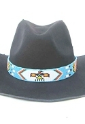 Turquoise Thunderbird and Feathers Beaded Hatband or Belt