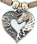 Diamond Cut Heart with Horse Necklace
