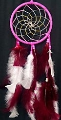 "Hot Pink, Burgandy, and White 6"" Spiral Dream Catcher"
