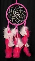 "Hot Pink and White 6"" Spiral Dream Catcher"