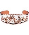 Hummingbird and Flowers Diamond Cut Copper Bracelet