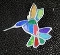 Hummingbrid stone inlay Brooch/pin #009