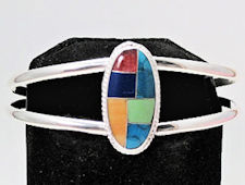Oval Multi Color Inlaid Stone Bracelet
