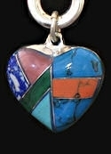 Inlaid Multi-Stone Heart Medicine Rock Necklace