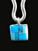 Turquoise Inlaid Stone Pendant with Chain #P2-012