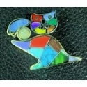 Cat with ball stone inlay Brooch/pin #008