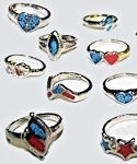 Dozen Ladies Turquoise & Coral Ring Assortment