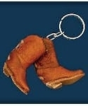 Leather Cowboy Boots Keychain