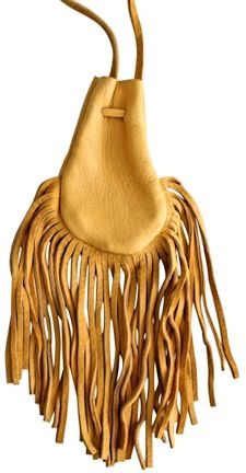 "Fringed 4x5"" Gold Buckskin Poke Bag"