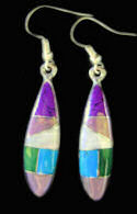 Long Sugulite, Turquoise & Lavender Inlaid Dangle Earrings