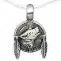 Mandella shield with howling wolf pendant with chain