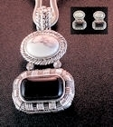 Onyx and picture marble earring and pendant set